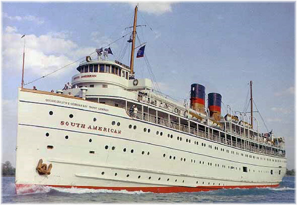 The Georgian Bay Line's 2,662-ton cruise ship South American