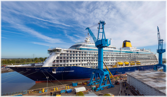 The new Saga's cruise vessel Spirit of Discovery (Courtesy Saga / Meyer Werft)
