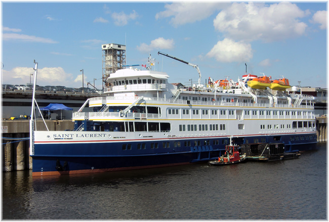 The 210-berth Saint Laurent. In this pic she is moored in Montreal (Click to enlarge)