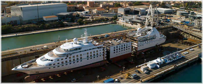 Windstar Cruises' Star Breeze is cut in two, with the new section inserted, at Fincantieri's Shipyard in Palermo (October 2019: courtesy Fincantieri)