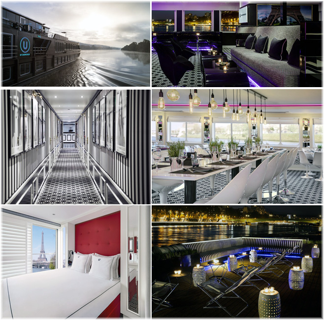 U by Uniworld new The B: a photo essay showing (from top - left): the lounge, the corridor, the restaurant, a cabin and the open or sun deck (Photos courtesy oftm studios visuelle medien GmbH) (Click to enlarge)