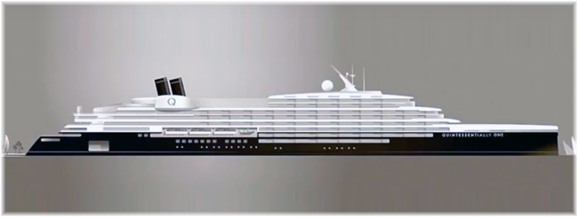 The planned 722-foot 45,800-ton Yran & Storbraaten-designed Oce Class 1A yacht Quintessential One