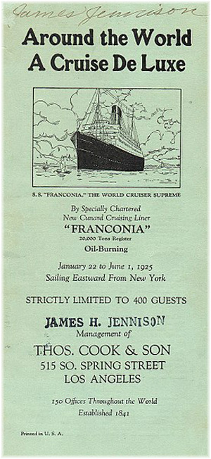 Thomas Cook 1925 World Cruise Brochure