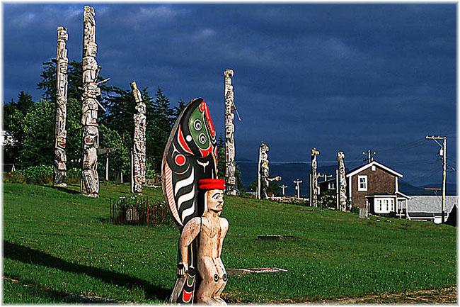 Totem Poles at Alert Bay on Vancouver Island (Click to enlarge)
