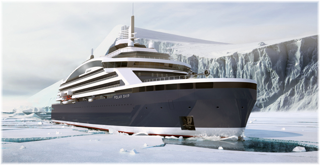 Fincantieri's subsidiary Vard Will Build The First Arctic LNG Cruise Vessel For Ponant (Artist impression, Stirling Design Int.)