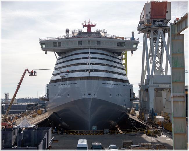 Scarlet Lady at the shipyard in Genoa Sestri Ponente - Feb.8, 2019