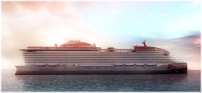 Rendering of Virgin Voyages' newest ship (Courtesy Virgin Voyages)