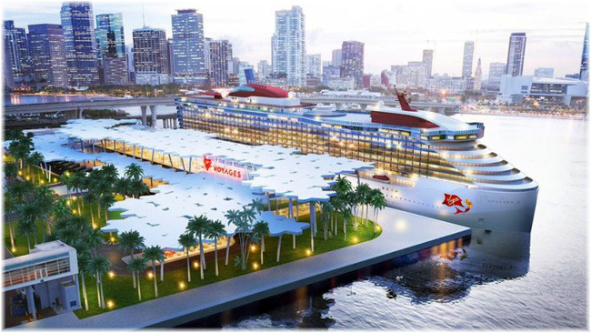 Virgin Voyages Is Working With Miami-dade County To Build A New Lush Tropical Terminal Overlooking The Miami Skyline (Courtesy Virgin Voyages)