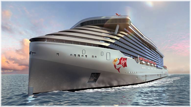 Rendering of Virgin Voyages' newest ship (Courtesy Virgin Voyages) (Click to enlarge)