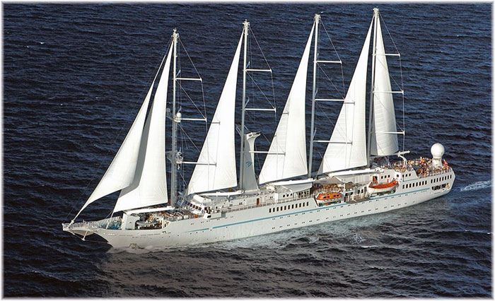 Sister yachts Wind Star and Wind Spirit are both 4-masted sail-assisted ships