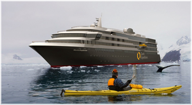 The 9,300-ton 176-guest World Explorer (Courtesy Quark Expeditions)