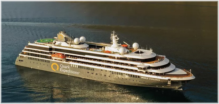 World Explorer - Mystic Cruises / Nicko Cruises currently on charter to Quark Expeditions (Photo credit Quark Expeditions)