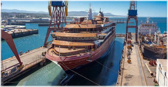Atlas Ocean Voyages' World Navigator was floated out at West Sea Viana Shipyard in Portugal (October 2020)