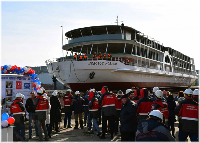 Paddle-wheel river cruise ship Zolotoye Koltso of PCS 180 project at Lotos shipyard (November 2019)
