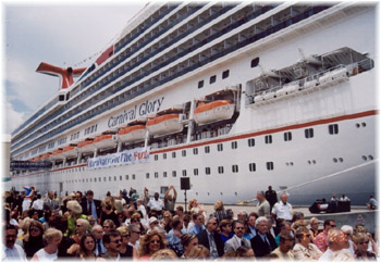 Passengers embarking on a cruise ship