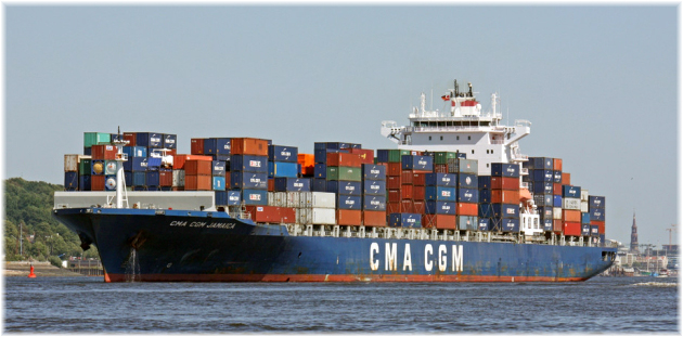 The CMA CGM Jamaica (which has a swimming pool)