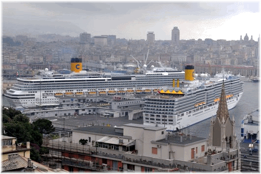 Costa Pacifica and Costa Luminosa in Genoa