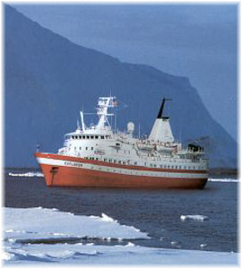 The 2,398-ton 96-berth Lindblad Explorer, the Little Red Ship