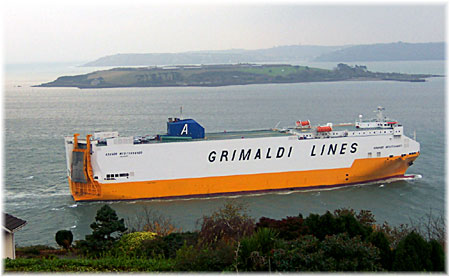 One of the Grimaldi Lines' cargo-passenger ships for the Mediterranean area