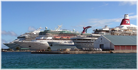 Cruise ships docked in Nassau, The Bahamas (Kevin Griffin, 2008)