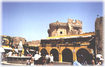 Rhodes, Greece: the city walls of Old Town, Europe's largest active medieval town and a UNESCO World Heritage Site