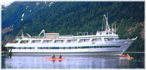 Wilderness Adventurer. The picture refers to the ship with the old Glacier Bay Cruise Line's colours